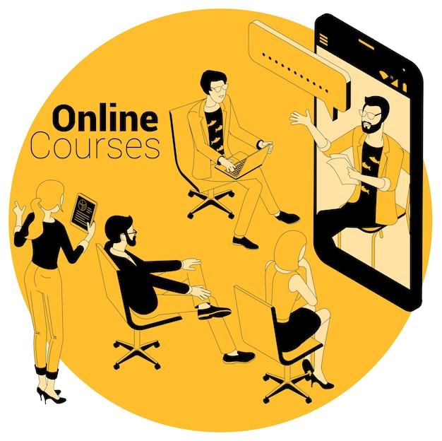 Concetto isometrico per corsi online, istruzione, formazione, apprendimento e tutorial video. Vettore Premium