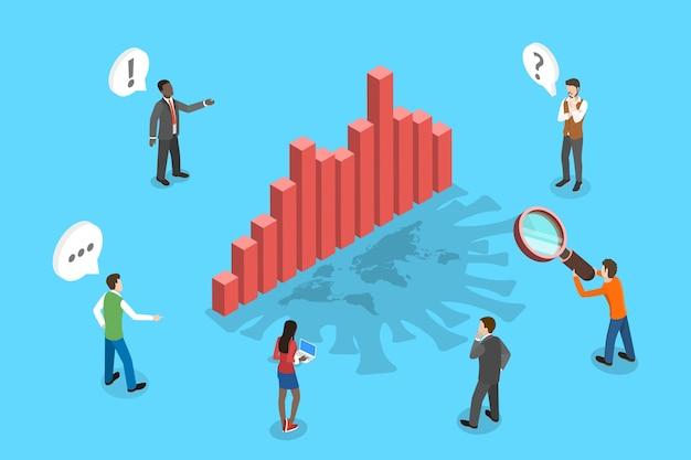 Illustrazione concettuale isometrica delle statistiche di diffusione del coronavirus, impatto sulle imprese e sull'economia. Vettore Premium