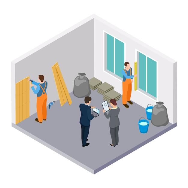 Muratori isometrici, illustrazione isometrica di riparazione della stanza Vettore Premium