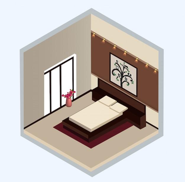 Disegno isometrico dell'interno della camera da letto Vettore Premium
