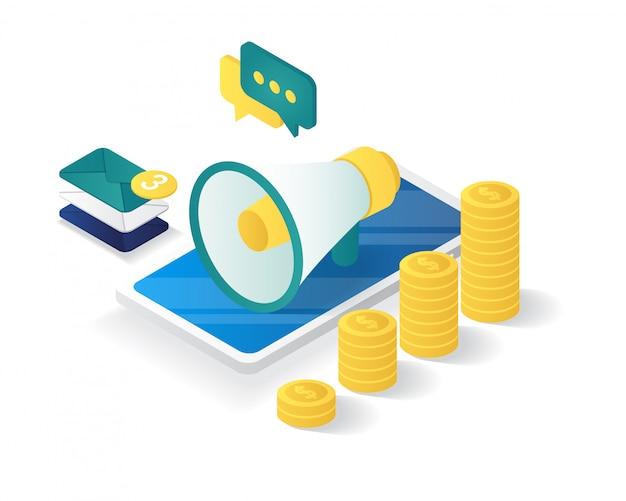 Isometrica della composizione della strategia di marketing digitale Vettore Premium