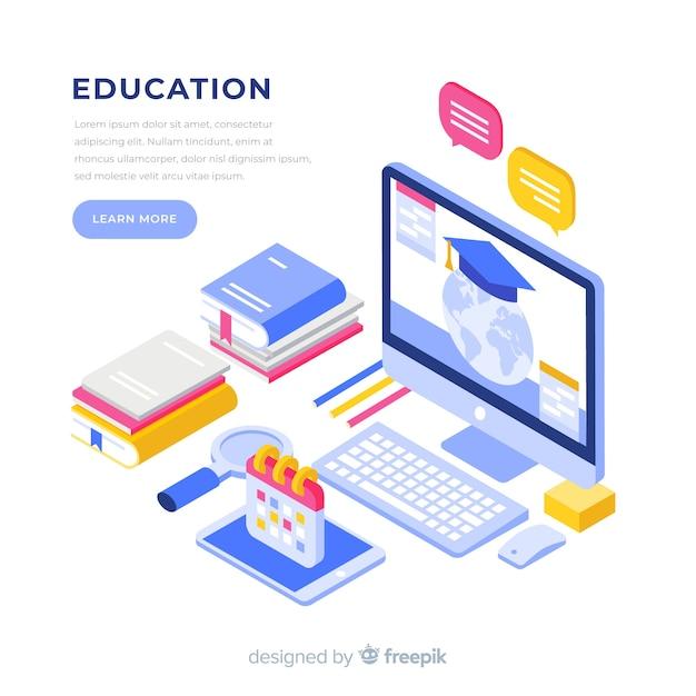 Sfondo di educazione isometrica Vettore Premium