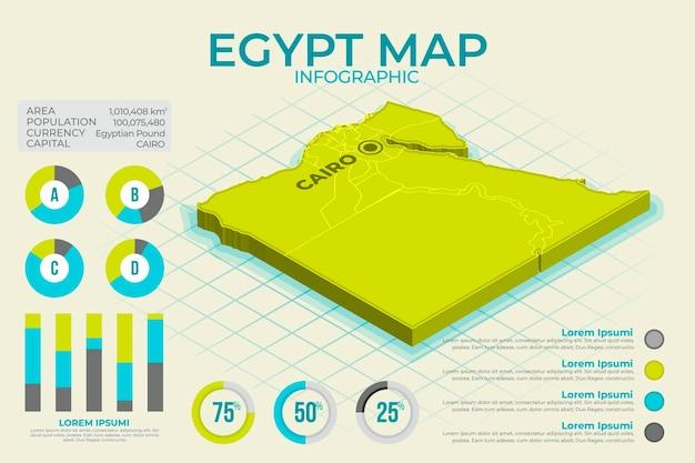 Mappa isometrica egitto infografica Vettore Premium