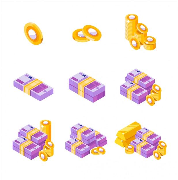 Fasci di euro isometrici sparsi, accatastati con lati diversi isolati su sfondo bianco. euro e centesimi. pila di soldi dell'oro del segno dei soldi dei centesimi di euro, isometrica. soldi piatti. Vettore Premium