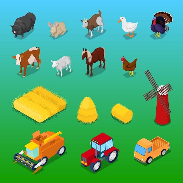 Animali da fattoria isometrici e trasporto agricolo. vector 3d illustrazione piatta Vettore Premium
