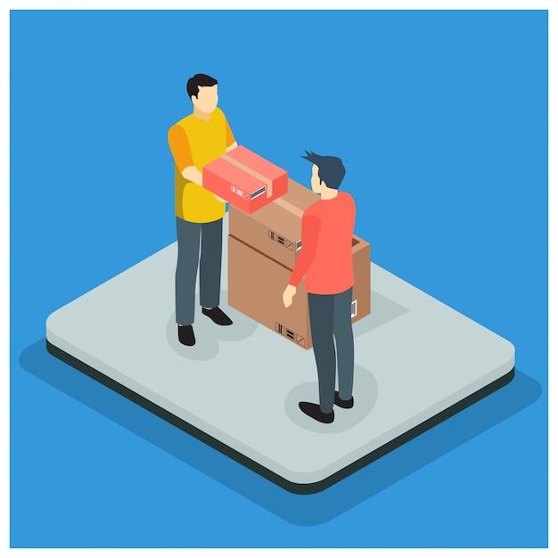 Concetto di servizio di consegna veloce isometrica Vettore Premium