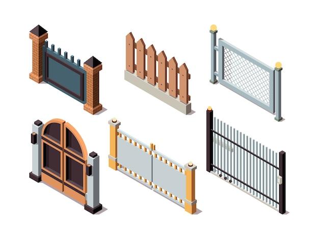 Recinzioni isometriche. elementi di case residenziali barriere di sicurezza recinzioni metalliche e in legno porte pannelli di protezione bordo del recinto, illustrazione di separazione della barriera Vettore Premium