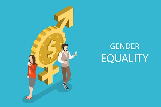 Concetto piatto isometrico di uguaglianza di genere, pari diritti e opportunità maschili e femminili. Vettore Premium