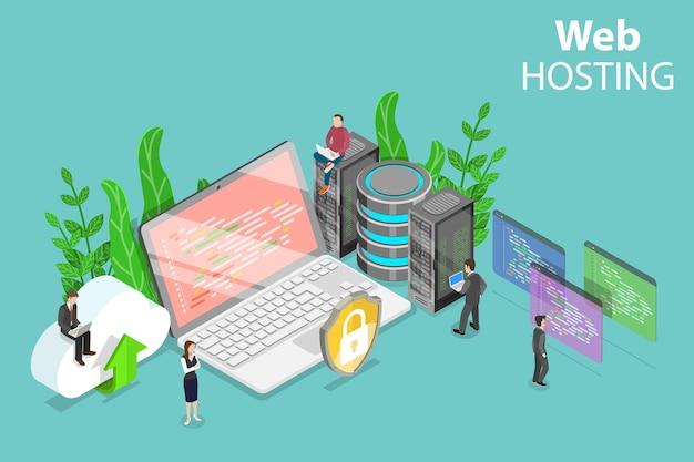 Concetto piatto isometrico di servizio di web hosting, cloud computing, data center. Vettore Premium