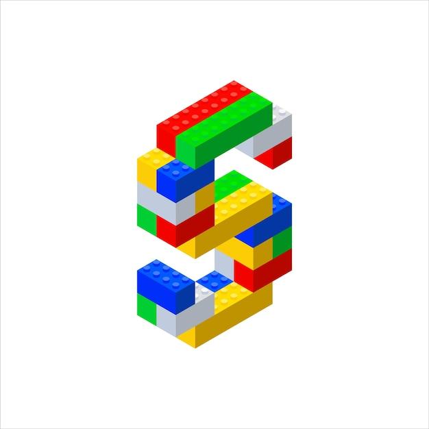 Tipo di carattere isometrico costituito da blocchi di plastica di colore Vettore Premium