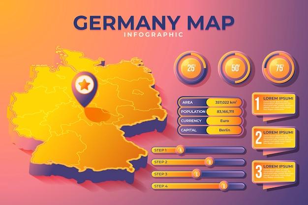 Mappa isometrica della germania infografica Vettore Premium