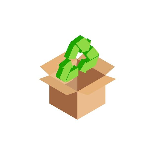 Simbolo di riciclaggio internazionale verde isometrico Vettore Premium