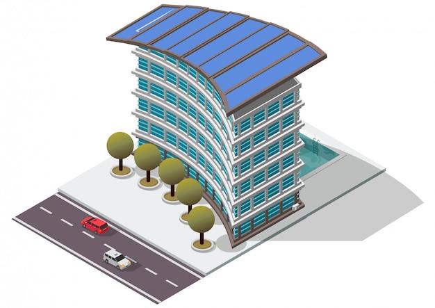 Costruzione di appartamento isometrica dell'hotel Vettore Premium