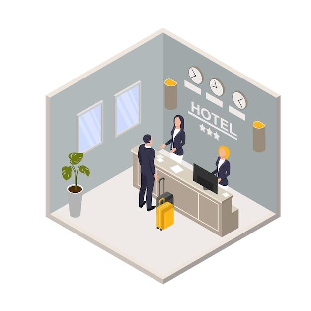 Reception dell'hotel isometrica Vettore Premium