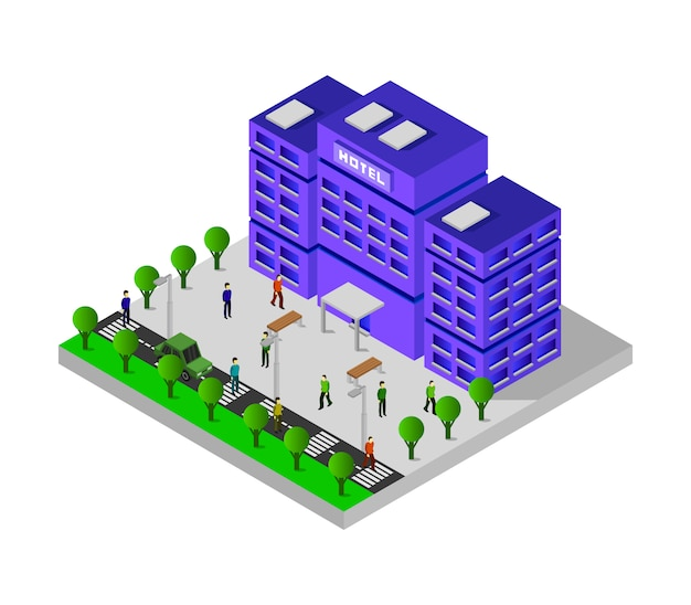 Hotel isometrico Vettore Premium