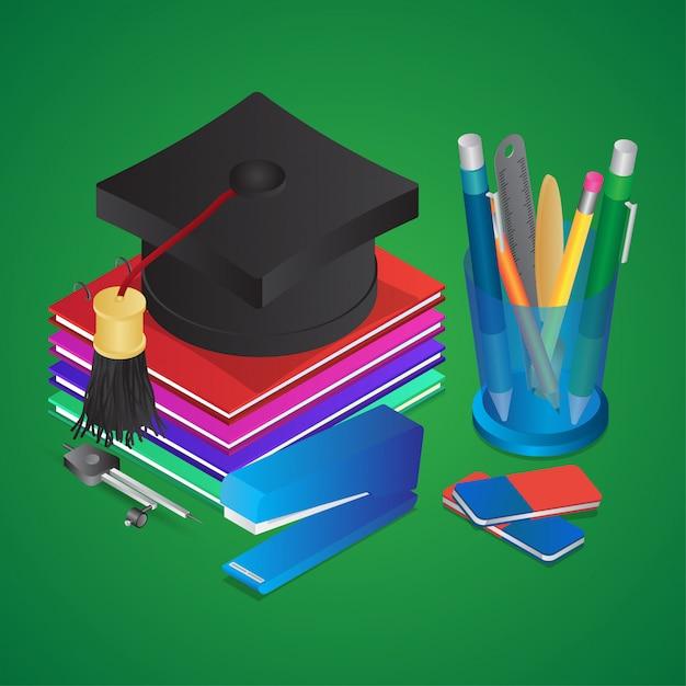 Illustrazione isometrica di elementi di istruzione come graduazione con libri, portapenne e cucitrice Vettore Premium