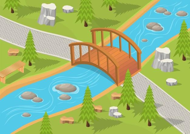 Illustrazione isometrica del parco con fiume e ponte di legno. Vettore Premium