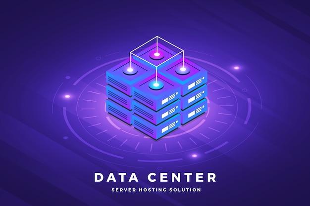 Soluzione tecnologica per il concetto di design di illustrazioni isometriche in cima al server di big data Vettore Premium