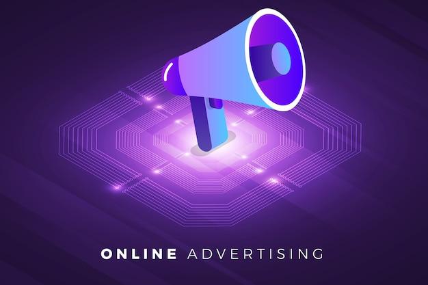 Soluzione tecnologica per il concetto di design di illustrazioni isometriche in cima alla pubblicità digitale Vettore Premium