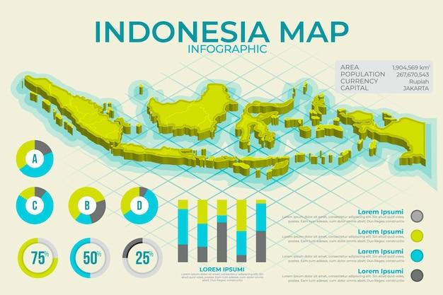 Mappa isometrica dell'indonesia infografica Vettore Premium