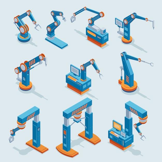 Elementi di automazione di fabbrica industriale isometrica impostati con diversi bracci meccanici automatizzati robotici isolati Vettore Premium