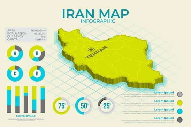 Mappa isometrica iran infografica Vettore Premium