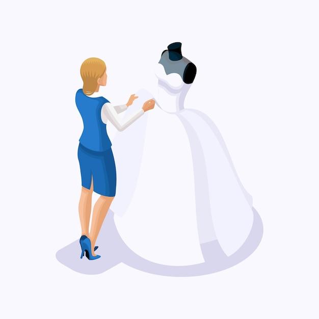 Isometrico è un insieme di sarti che cuciono abiti da sposa, un cliente su un vestito adatto. cucire l'abito da sposa migliore e lussuoso nell'atelier set 2 Vettore Premium