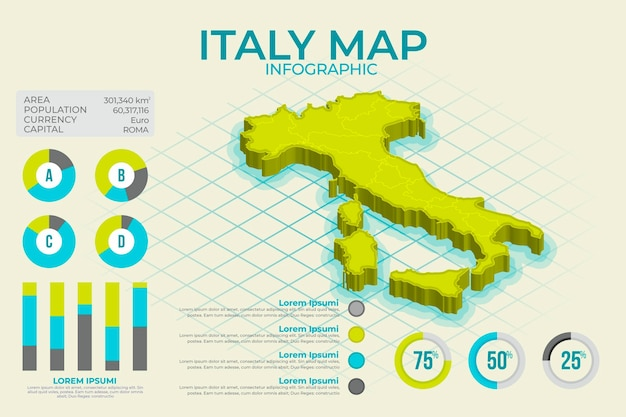 Mappa isometrica italia infografica Vettore Premium