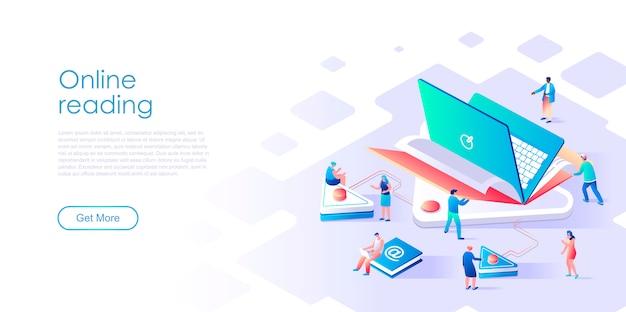 Lettura pagina isometrica online o concetto piatto e-book Vettore Premium