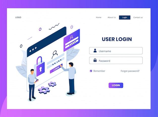 Pagina di destinazione isometrica dell'accesso utente Vettore Premium