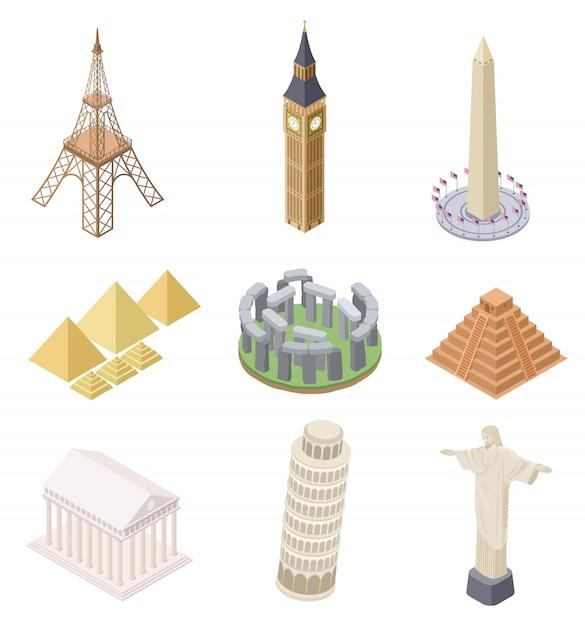 Punto di riferimento isometrico. insieme famoso della mappa di mondo di infographics della torre eiffel di big ben della torre pendente dei punti di riferimento di viaggio della costruzione Vettore Premium