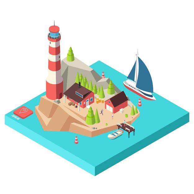 Faro isometrico. isola con la torre e casa, alberi e barca in mare e illustrazione isometrica degli uomini Vettore Premium