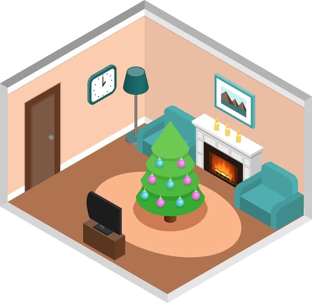 Interiore isometrico del salone con l'albero di natale. vettore. Vettore Premium