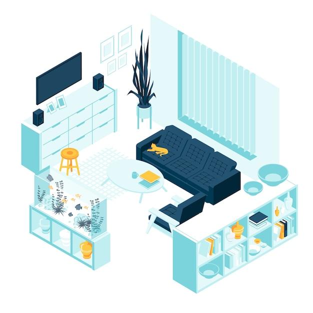 Soggiorno isometrico con mobili per la casa Vettore Premium