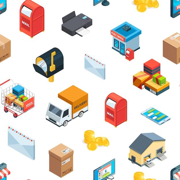 Logistica isometrica e consegna icone modello o illustrazione Vettore Premium