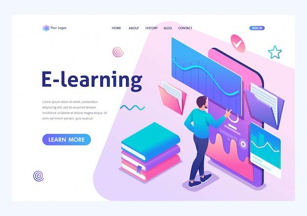 Uomo isometrico guardando una lezione sul sito web, formazione online, e-learning. applicazione mobile per la formazione. Vettore Premium