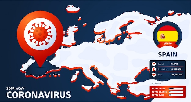 Mappa isometrica dell'europa con l'illustrazione evidenziata della spagna del paese. statistiche di coronavirus. pericoloso virus cinese ncov corona. infografica e informazioni sul paese. Vettore Premium