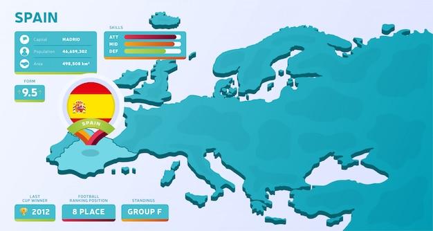 Mappa isometrica dell'europa con il paese evidenziato spagna Vettore Premium