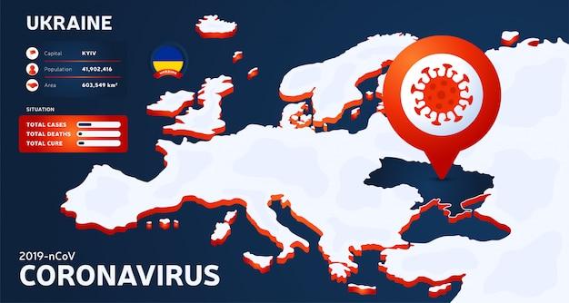 Mappa isometrica dell'europa con l'illustrazione evidenziata dell'ucraina del paese. statistiche di coronavirus. pericoloso virus cinese ncov corona. infografica e informazioni sul paese Vettore Premium