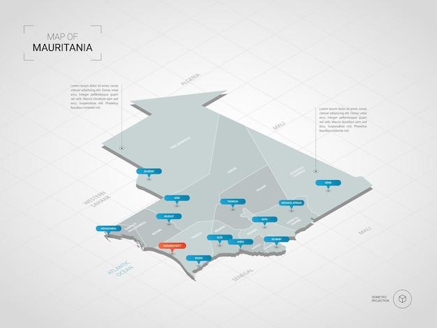 Mappa isometrica della mauritania. illustrazione stilizzata della mappa con città, confini, capitale, divisioni amministrative e indicatori di direzione; sfondo sfumato con griglia. Vettore Premium