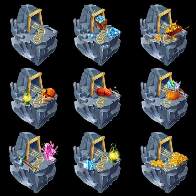 Collezione isometrica mining game islands Vettore Premium