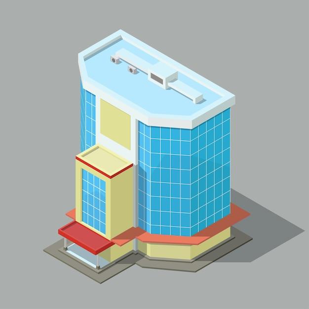 Ufficio moderno isometrico o edificio dell'hotel isolato. Vettore Premium