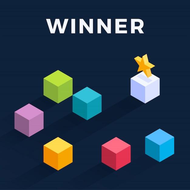 Illustrazione isometrica cubi in movimento. vincitore spostando facilmente il cubo. strategia vincente, efficienza, innovazione nel concetto di business. Vettore Premium