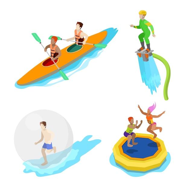 Persone isometriche sull'attività acquatica. kayak, uomo su flyboard e trampolino. vector 3d illustrazione piatta Vettore Premium