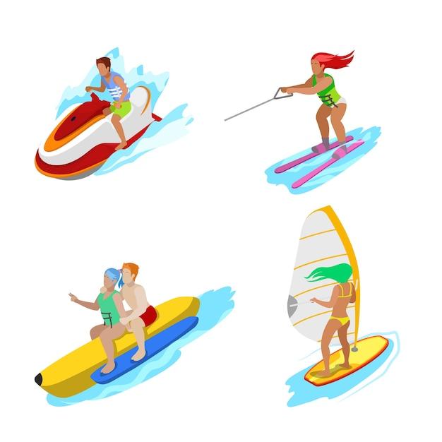 Persone isometriche sull'attività acquatica. surfista donna, sci nautico, idrociclo uomo. vector 3d illustrazione piatta Vettore Premium
