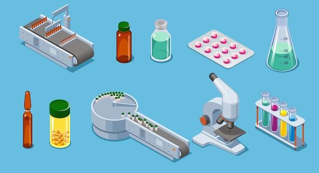 Gli elementi isometrici di industria farmaceutica hanno messo con il microscopio della pipetta dei tubi delle bottiglie delle droghe delle pillole dell'attrezzatura di imballaggio isolato Vettore Premium