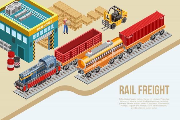 Consegna isometrica del trasporto ferroviario di merci Vettore Premium