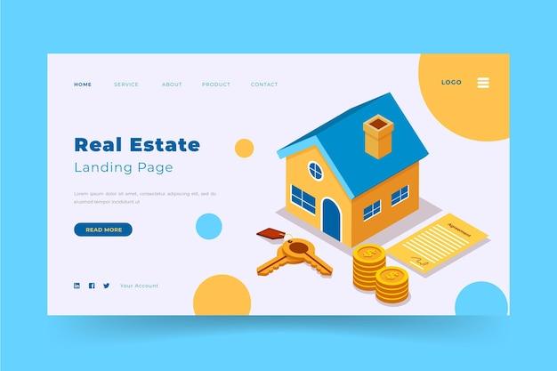 Modello di pagina di destinazione immobiliare isometrica Vettore Premium