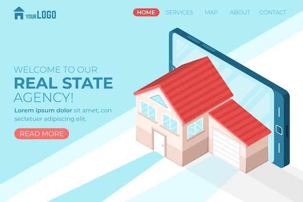 Pagina di destinazione immobiliare isometrica Vettore Premium
