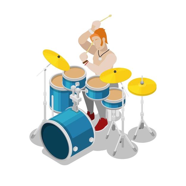 Batterista rock isometrica che suona alla batteria. vector 3d illustrazione piatta Vettore Premium